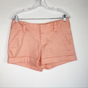 Alice + Olivia Mid Rise Hemmed Cuff Shorts Pink 6